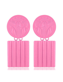 Fashion Pink Metal Contrast Color Flower Carving Badge Square Earrings