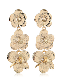 Fashion Gold Metal Flower Earrings