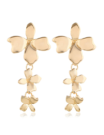 Fashion Gold Metal Clover Earrings