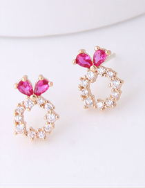 Fashion Gold 925 Silver Needle Copper Inlaid Zircon Love Ring Stud Earrings