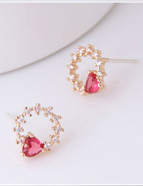 Fashion Gold 925 Silver Needle Copper Inlaid Zircon Love Earrings
