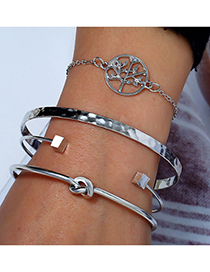 Fashion Silver Life Tree Four-piece Bracelet