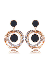 Fashion Gold Metal Flash Drill Multi-circle Earrings