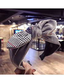 Fashion Gray Bow Plaid Knotted Wide-brimmed Headband
