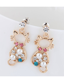 Fashion Gold Metal Cat Earrings