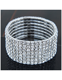 Fashion Silver (seven Rows) Metal Diamond Bracelet