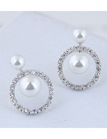 Fashion Silver 925 Silver Needle Metal Ring Stud Earrings