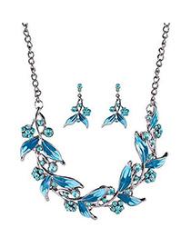 Fashion Blue Metal Leaf And Diamond Necklace Earrings Set