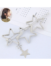 Fashion Silver Metal Five-pointed Star Hairpin