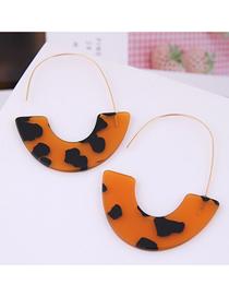 Fashion Brown Geometric Crescent Moon Leopard Earrings
