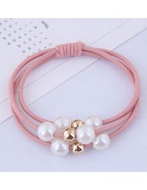 Fashion Pink Pearl Hair Ring