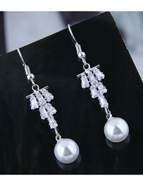 Fashion White Inlaid Zircon Pearl Earrings