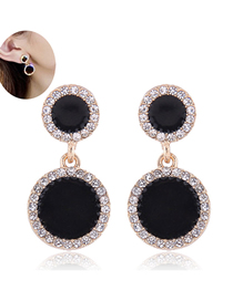 Fashion Gold Round Diamond Stud Earrings