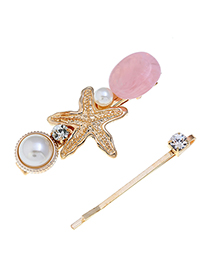 Fashion Pink Starfish Two-piece Hair Clip