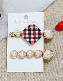 Fashion Red And Black Plaid Pearl Hair Clip Two-piece
