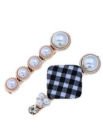 Fashion Black And White Plaid Pearl Hair Clip Two-piece