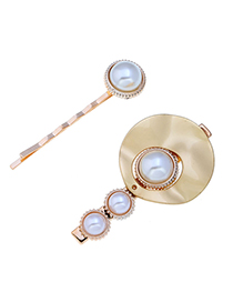 Fashion Gold Metal Flower Pearl Two-piece Hair Clip