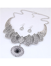 Fashion Silver Metal Bow Necklace Earring Set