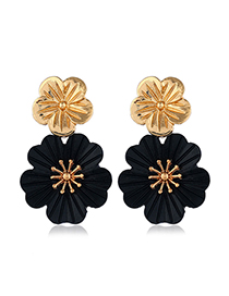 Fashion Black Metal Flower Earrings