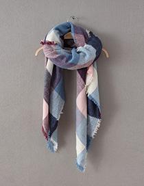 Fashion Multi-color Stripe Pattern Decorated Scarf