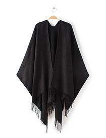 Fashion Black Pure Color Decorated Tassel Scarf