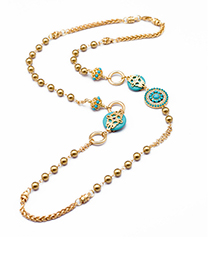 Fashion Gold Color+blue Round Shape Decorated Necklace