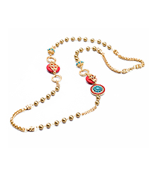 Fashion Gold Color+red Round Shape Decorated Necklace