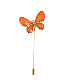 Fashion Orange Butterfly Shape Design Brooch