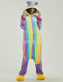 Fashion Multi-color Panda Shape Decorated Color-matching Jumpsuit(for Adult)