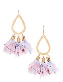 Fashion Pink Waterdrop Shape Decorated Flower Earrings