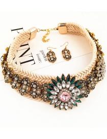Fashion Beige Full Diamond Decorated Jewelry Sets