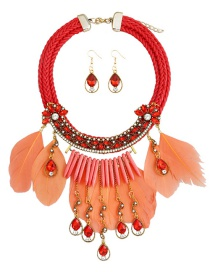 Fashion Red Waterdrop Shape Decorated Necklace