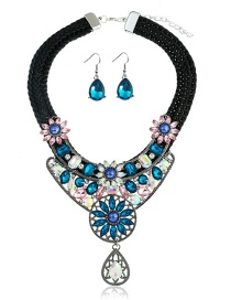 Fashion Blue Hollow Out Design Flower Shape Jewelry Sets
