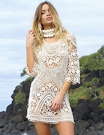 Sexy White Hollow Out Design Pure Color Dress
