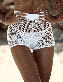 Sexy White Hollow Out Design Pure Color Short Pants