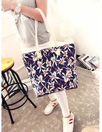 Fashion Navy Flower Pattern Decorated Bag