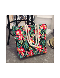 Fashion Red+green Flower Pattern Decorated Bag