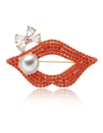 Fashion Red Lips Shape Decorated Brooch
