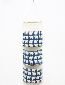 Fashion Blue Bear Pattern Decorated Storage Bag