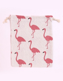 Fashion White+pink Flamingo Pattern Decorated Storage Bag