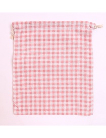 Fashion Pink+white Grid Pattern Decorated Storage Bag