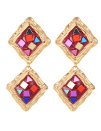 Fashion Red Geometry Shape Decorated Earrings
