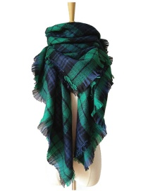Fashion Green Grid Pattern Decorated Scarf