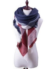 Fashion White+claret Red Grid Pattern Decorated Scarf
