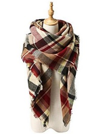 Fashion Khaki+red Grid Pattern Decorated Scarf