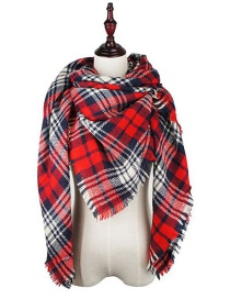 Fashion Red Color Matching Decorated Scarf