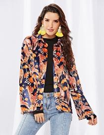 Fashion Orange Giraffe Pattern Decorated Coat