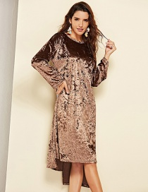 Fashion Coffee Pure Color Decorated Round Neckline Dress