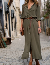 Fashion Olive Green V Neckline Design Pure Color Dress