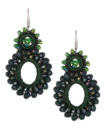 Fashion Green Oval Shape Decorated Earrings